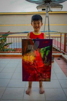 my 4 years old nephew painting by Aditjakra