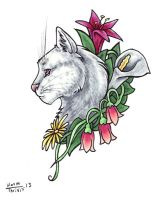 White Cat with Spring Flowers by thrivis