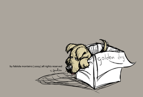 a sad golden dog by cifaela