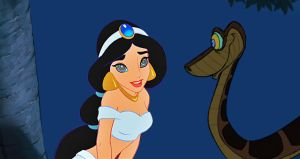 Jasmine and Kaa: Totally Under the Spell by hypnotica2002
