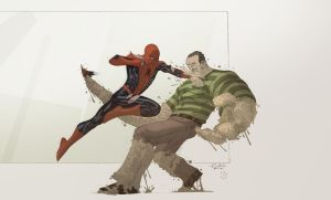 Spidey VS Sandman with Cheeks by SpiderGuile