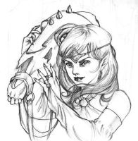 an elf and her horse by a1000bejezus
