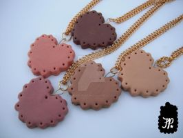 Heart Cookie Charm Necklaces by TheFuzzyPineapple