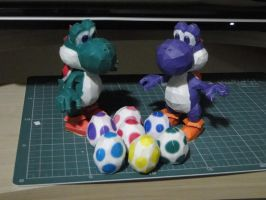 Yoshi's and eggs Papercraft by bslirabsl