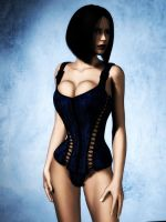 The Velvet Touch - Blue Corset by Afina79