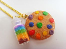 Rainbow Cookie Rainbow Glitter Bottle Necklace by tyney123