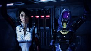 Ashley Williams and Tali'Zorah vas Normandy by johntesh