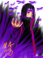 Purple Flame'n Itachi by MasterAki