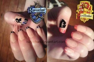 Harry Potter - Gryffindor and Ravenclaw nails by Iszy-chan