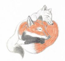 Red foxy and Arctic foxy by yellowfox02
