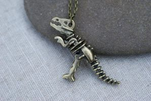 Brass T-rex Skeleton Necklace by MonsterBrandCrafts