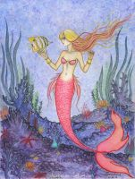 Mermaid with friend by Alexsiel