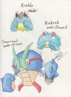 Fakemon - What Big Claws - Water Starters by dragonkitteh