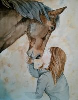 A girl with her horse by lauraacan