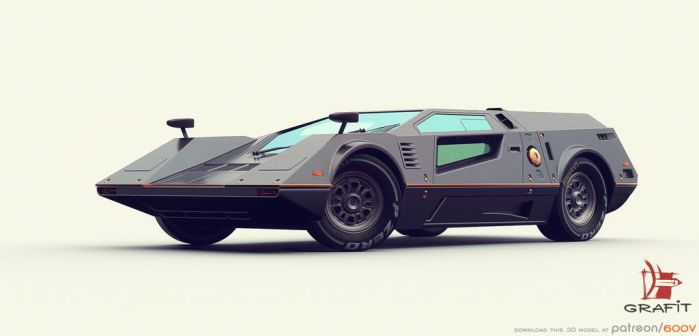 3D retro futuristic race car by Grafit-art