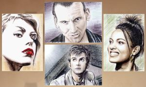 Four new Dr Who sketch cards by whu-wei