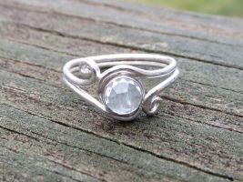Icy Pale aquamarine ring in argentium by whippetgirl