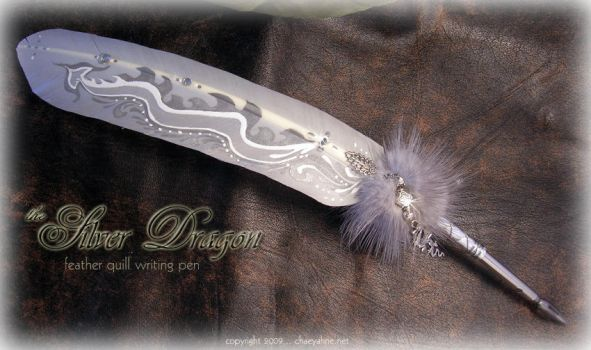 Silver Dragon Tail Feather Pen by ChaeyAhne
