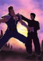 Master Lee and Kenshiro by skedart