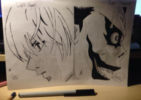 Light Yagami and The Shinigami Ryuk Drawing by burythereckless