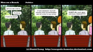 Men on a Bench - Politics by Renegade-Hamster
