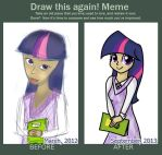 Draw This Again: Meme (Human Twilight Sparkle) by PlaviLeptir