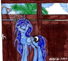 Princess Luna taking a shower by newyorkx3