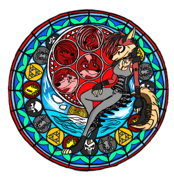 Roxy wolf Sunset Dive into the Heart Stain glass by Justicewolf337