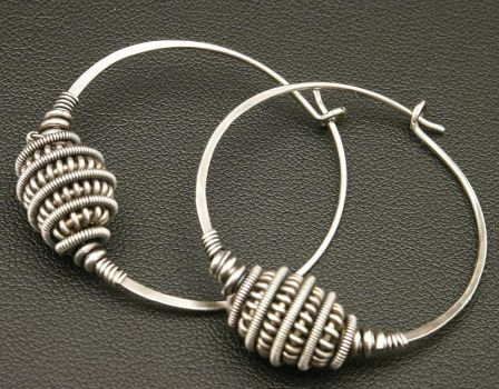 Sterling Wire Hoops by WiredElements