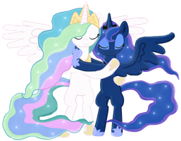 Princess Celestia and Princess Luna Hug -Collab by Fluttershy626