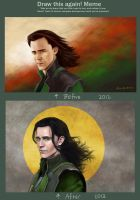 Draw this again meme, Loki by slugette