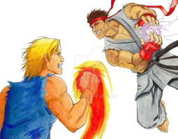 Evil Ryu Vs. Ken Masters by SurfTiki