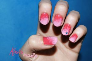 Coral and pink gradient nails by KiraSTFD