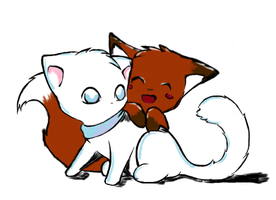 Kitten and fox by sango135dslayer