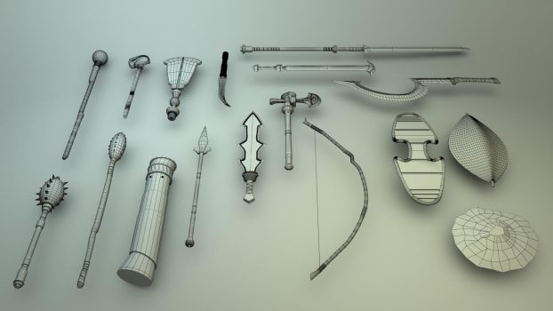 Weapon Set 1 by JWright-3D-Graphics