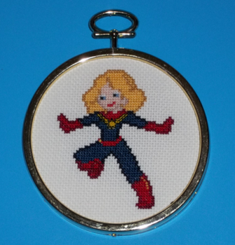 Captain Marvel Cross Stitch by chujo-hime