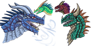 Some Dragon Heads by qwerty1198
