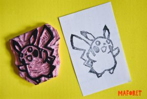 Pikachu Rubber Stamp by MaForet