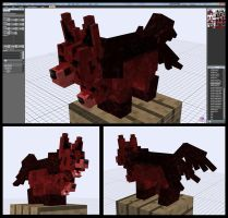 Minecraft Nether Beast Mightyena Mob Model by FuzzyAcornIndustries