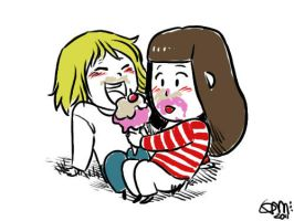Faberry Chibi Sharing Ice Cream by patronustrip
