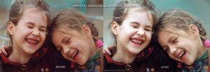 Laughing Girls Before and After by Pixel2Portrait