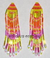 Pink Yellow Orange Earrings by Natalie526