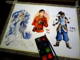 Watercolor Side Practice - Yue Iroh and Korra by JD-SPEEDbit