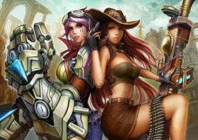 Vi and Caitlyn, Champions of Piltover by Gevurah-Studios