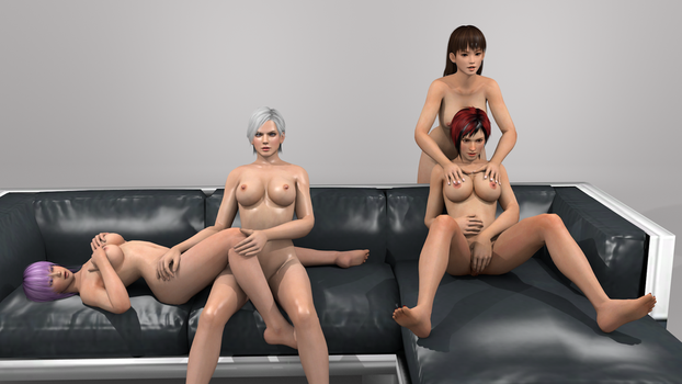 Couch Session Lei Fang, Mila, Ayane and Christie 3 by vamp3003
