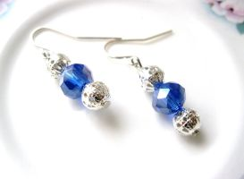 blue and silver earrings by faranway