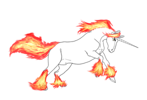 Flaming Unicorn by SacredCandybar