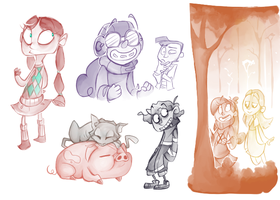 Mystery Kids Sketches by Felipoid