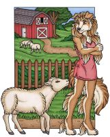 Laurie and her Sheep by kalika-futago