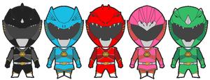 Power Rangers Godzilla Force Redesign Chibis by HewyToonmore